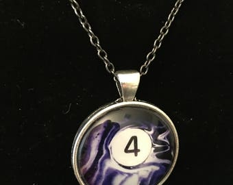 "Necklace - # 4 Swirl Pool Ball Image under glass dome. (16""-24"")"