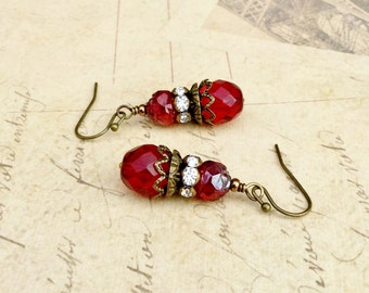 Red Earrings, Ruby Earrings, Victorian Earrings, Ruby Red Earrings, Bridal Earrings, Red Wedding Jewelry, Czech Glass Beads, Gifts for Her