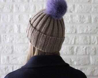 Rib knit pom pom beanie hat, Fur pom pom hat, Brown hat, Bobble hat womens, Cashmere hat, Wool hat, Winter hat with pom pom, Ultra Violet