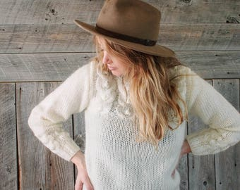 vintage white pearl sweater