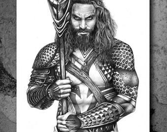 Justice League - Aquaman (Jason Momoa)  - Illustrated Giclee Print