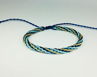 Macrame bracelet, Peruvian, Blue Tones, Unisex, Mens, Womens, Beachwear, Surfer, Bohemian, Waterproof