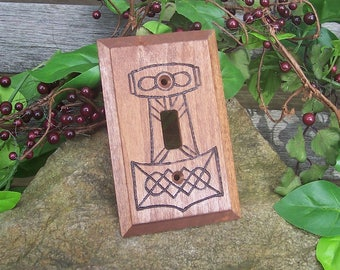 Thor's Hammer Light Switch Plate Cover - Mjolnir Lightswitch Plate - Viking Home Decor - Wood burned