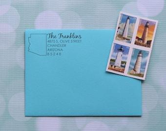 Arizona Address Stamp, Custom Address Stamp, Arizona Stamp, Self Inking Address Stamp, Family Address Stamp, 0058