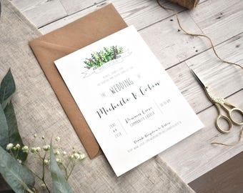 Minimalist Meadow Invitation Set | Wildflower Wedding Invite + RSVP | Sample set