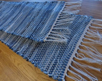 """Long Denim Table Runner  6' 3"""" x 13 """" plus fringe.  Just the touch you've been looking for.  Each one is unique.     2WD18 & 3WD18"""