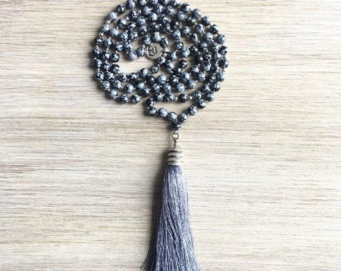 Snowflake Obsidian Tassel Mala Beads, 108 Mala, Gemstone, Handmade, Hand-knotted, Meditation, Yoga, Prayer Beads, Chakra