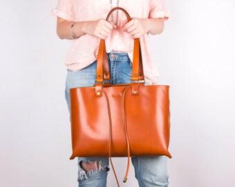 Leather tote bag, Leather shoulder bag, Light Brown Leather Tote,  15 inch Macbook Bag, Leather Shopping Handbag, Hand Manufactured