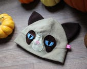 Grumpy cat inspired funny cat fleece cosplay hat, perfect gift for cat lovers, every cat owner needs a cat beanie