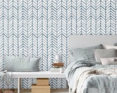 Self adhesive vinyl temporary removable wallpaper, wall decal - Chevron pattern print  - 026 WHITE/ NAVY
