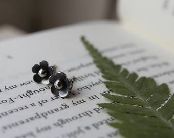 Flower Studs. Silver Posts. Botanical Jewelry. Nature. Floral. Sterling Silver. Cute Earrings. Silver Studs.