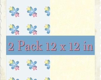 Flowery 2pk Printable Scrapbooking Papers