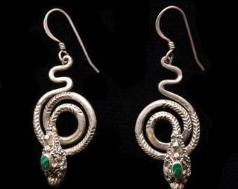 Vintage Malachite Sterling Silver Snake Dangle Earrings, Malachite Snake Dangle Earrings Vintage Silver Snake Dangle Earrings Snake Earrings