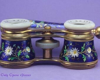 Enamel Lorgnette / Enamel Opera Glasses / Jumelles / Opernglas / Binoculars / Antikes Fernglas