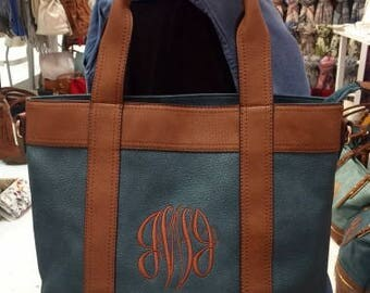 Monogrammed/Personalized Vegan Leather Tote Bag/Purse