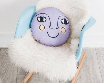 Moon Nursery Cushion, Purple Bedroom Decor, Gender Neutral Nursery Decor, Luna Pillow, Round Cushion, New baby Gift, Contemporary Folk Decor