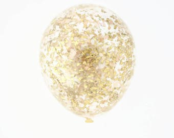 Confetti Balloons | Ivory + Gold | 11 Inch | 16 Inch | 18 Inch | Wedding Balloons