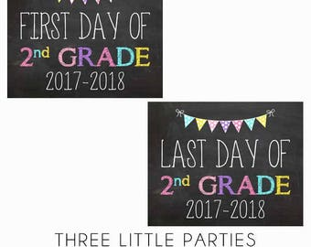 Girl First Day of School Sign, First Grade 8x10 INSTANT DOWNLOAD, Last Day 1st Grade Printable Sign, Back to School Chalkboard Sign pink