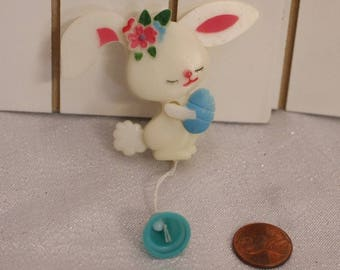 Vintage Bunny Rabbit Pin Holding an Egg Pin, Pull and Move Pin