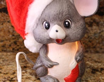 Vintage Porcelain Christmas Mouse Lamp for Table or night light