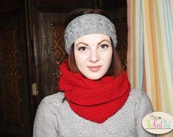 Hand Knitted Chunky Winter Headband Ear-warmer, Cable Knit Headband, Gray Knit Head Wrap, Knitted Ear Warmer, Chunky Braided Headband