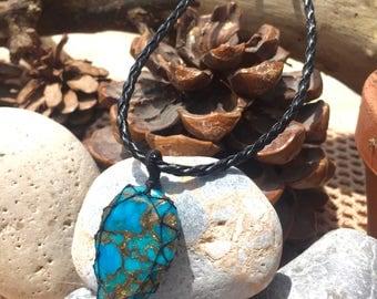 Turquoise - Kingman - Arizona - Necklace - Handmade - Macrame - Jewellery - Healing - Stone
