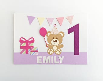 Personalised First Birthday Card | 1st Birthday Card | Handmade Greetings Card | Baby Girl Little Girl Birthday Girl | Celebration Party