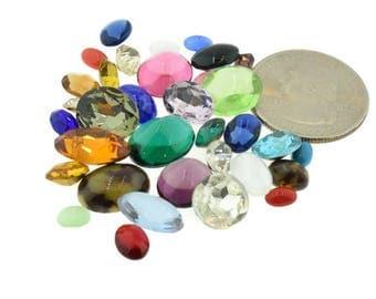 Czech, German Rhinestone Oval Repair Mix Lot Kit Mixed Colors and Sizes 50 pcs Piece Vintage Design