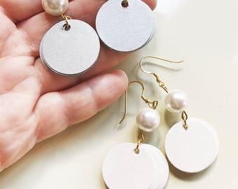 Dangle earrings with pearls, Paper jewelry, pendant paper earrings with white pearls, statement earrings,hoops earrings