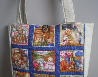 patchwork bag pattern bears and linen fabric