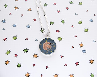 Space Cat Necklace, Jupiter Kitty, Cute Cat Pendant, Nerdy Accessories, Geek Jewelry, Funny, Cat Lover Gift, Silver Plated, Ball Chain