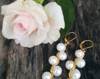 Pearls and Gold Miyuki Earings