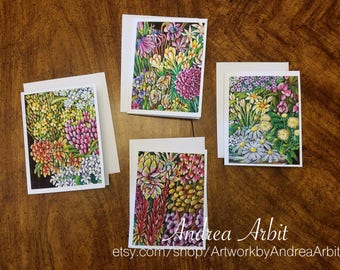 Flower Drawing Prints - Ability Bouquet Set - Pack of 4 Blank A2 Notecards