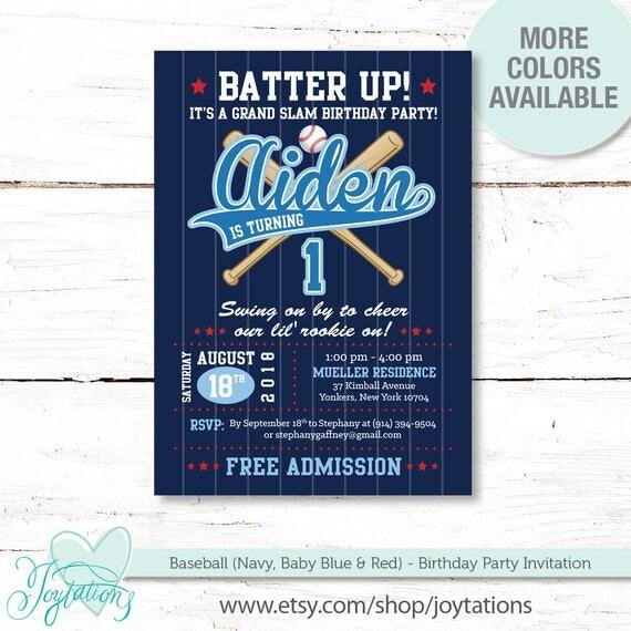 Baseball Birthday Invitation Printable Navy Blue Baby And Red Boy Sports Kids Party Invite 17B