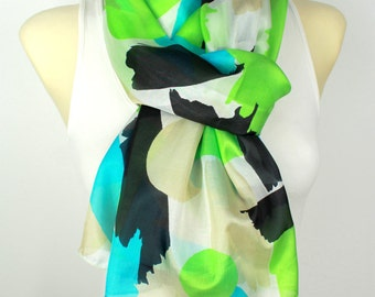 Geometric Silk Scarf Green Silk Scarf Blue Silk Scarf Summer Silk Scarf Womens Fashion Accessories Gift for Her Summer Outdoors Summer Party