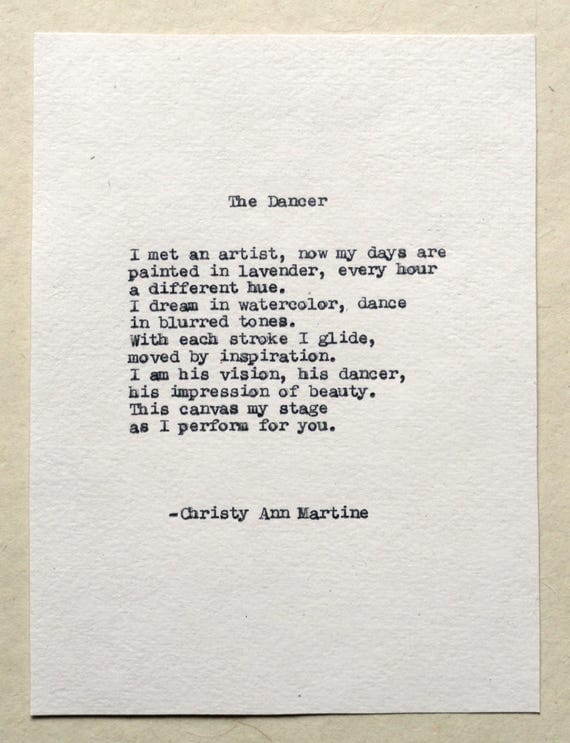 Poetry - Art Gifts - The Dancer Poem Typed with Remington Typewriter