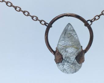 Black and Gold Rutilated Quartz Necklace