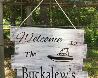 Welcome sign - River House sign - Last name signs - River signs - Custom signs - Wood signs - Home Decor - Gift ideas
