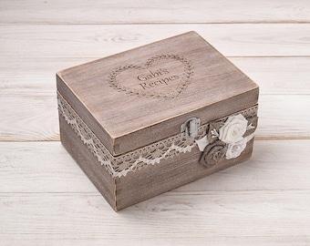 Recipe Box Personalized Recipe Card Box Wood Recipe Holder Recipe Storage Housewarming Gift Wedding Shower Decor Mothers Day Christmas Gift