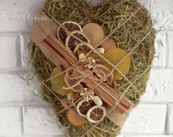 Wall decoration heart dried flowers, Valentine's Decoration, Wedding Decoration, Love Decor, Farm house decoration, Kitchen decoration