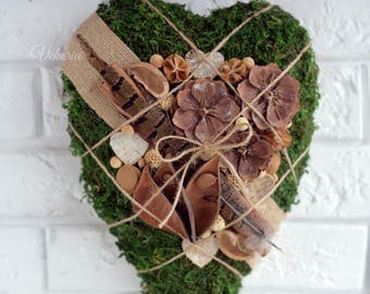 Wall decoration heart, Valentine's Decor, Moss, Wedding gift, Love Decor, Farm house, Front Door, Rustic style, Natural, Dried flower