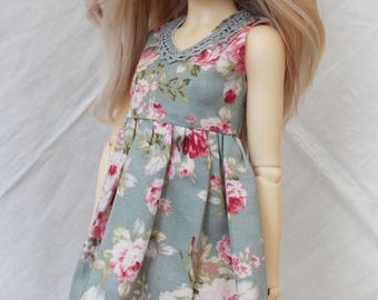 Blue rose print dress for MSD Minifee/Unoa, Slim Mini