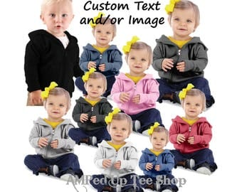 Custom Infant Zip Up Hooded Sweatshirt/Custom Baby Sweatshirt/Customized Childrens Tee/Custom Kids Tees/Custom Youth Sweatshirt