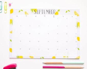 A4 Desk Pad Calendar / Desk Accessory / Cute Stationery / Illustrated Calendar / Back to School