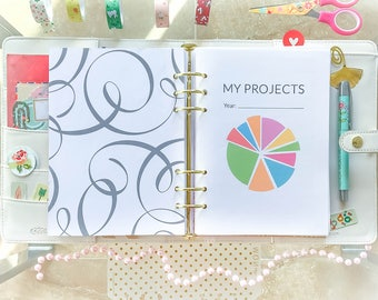 Project and Goals Planner A5 Filofax Inserts Booklet Ready A5 Printable PDF Perpetual goals projects tracker Traveler's Notebook Inserts A5