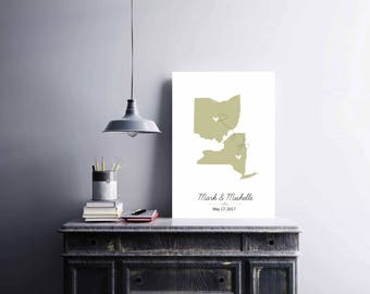 Two States Wedding Sign Guest Book, Us Map Guest Book, World Map Guest Book, Long Distance Gold Map, Wedding Gift, Anniversary Gift - 52377