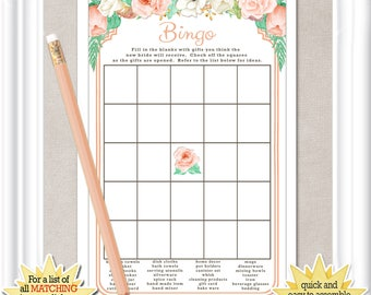 Instant Download BRIDAL BINGO game with peach colored flowers and mint accents, Bridal Shower game, diy PRINTABLE, 62BR