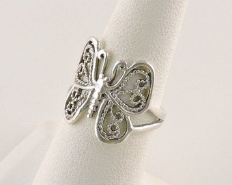 Size 6 Sterling Silver Filigree Butterfly Ring