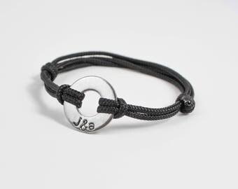 Custom Washer Bracelet, Couples Gift, Anniversary Jewelry, Husband Gift, Wedding Gift, Anniversary for Him, Boyfriend Girlfriend Bracelet