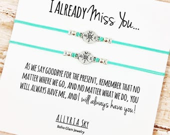 "Set of Two Charm Friendship Bracelets with ""I Miss You"" Card 